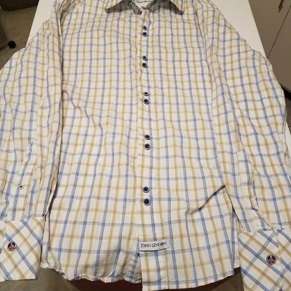 English Laundry Shirt John Lennon Imagine Art White Black Stripe M MEDIUM NEW